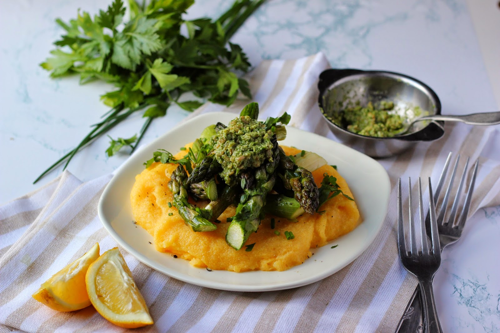 Roasted Asparagus & Polenta with Zesty Spring Pesto | happy hearted kitchen