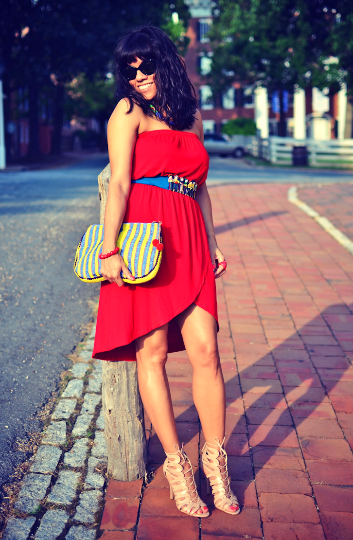 HIGH LOW RED DRESS OUTFIT