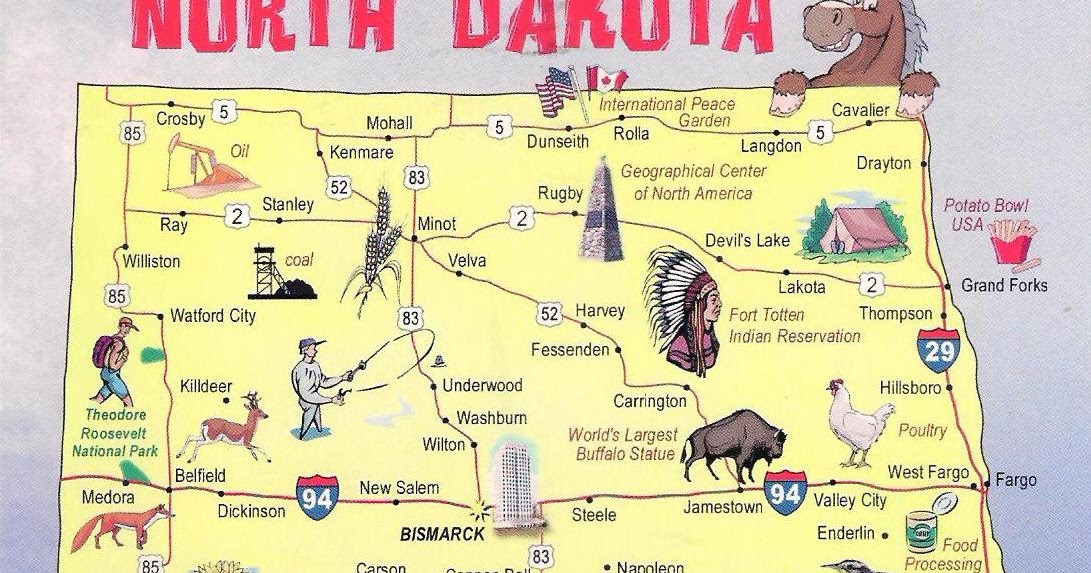 More POSTCARDS STAMPS USA Map North Dakota - Us map north dakota