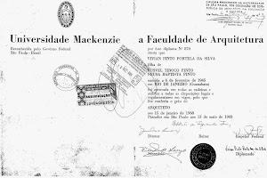 Diploma da Universidade Presbiteriana Makenzie. São Paulo, 1968.