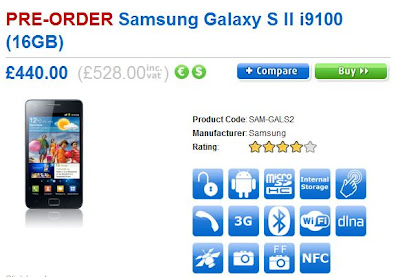 Samsung Galaxy S2 preorder in UK
