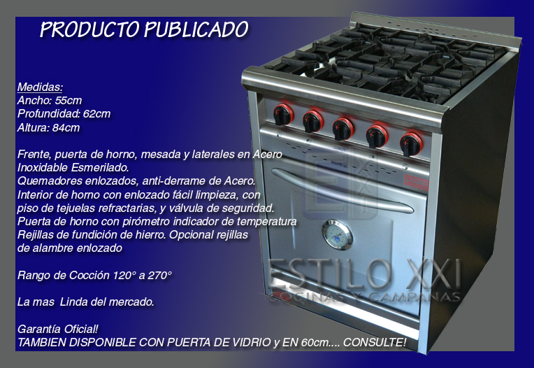 Cocina industrial envio s cargo semi industrial 55cm for Valor cocina industrial