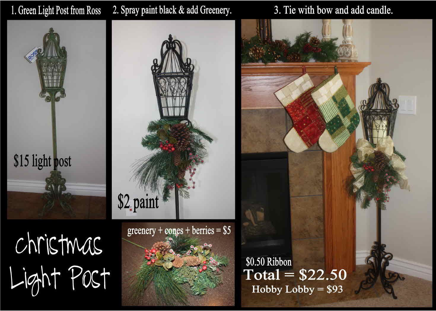 The entire Christmas Light Post was just under $22.50, including tax.