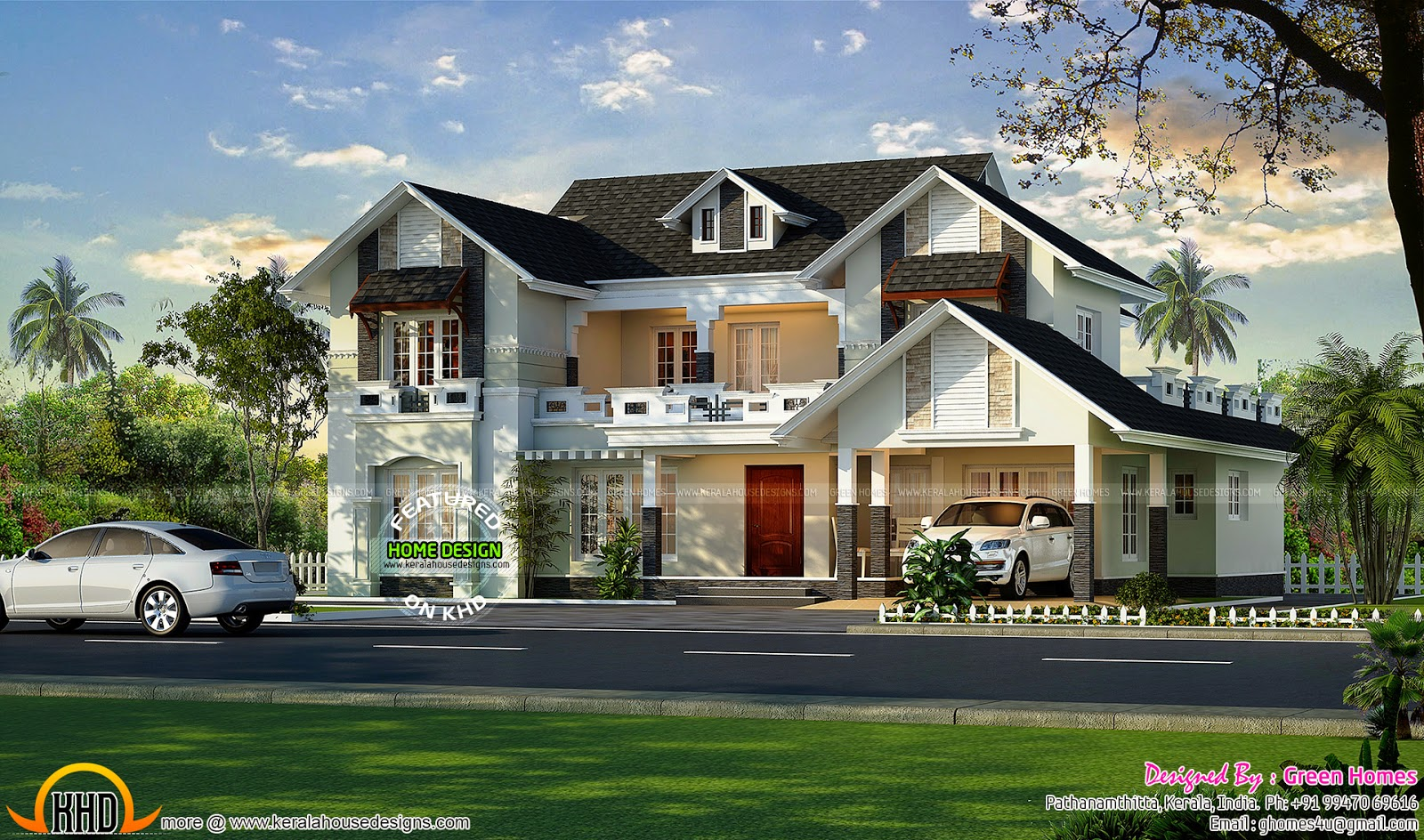 Very beautiful european model house kerala home design for Very beautiful house