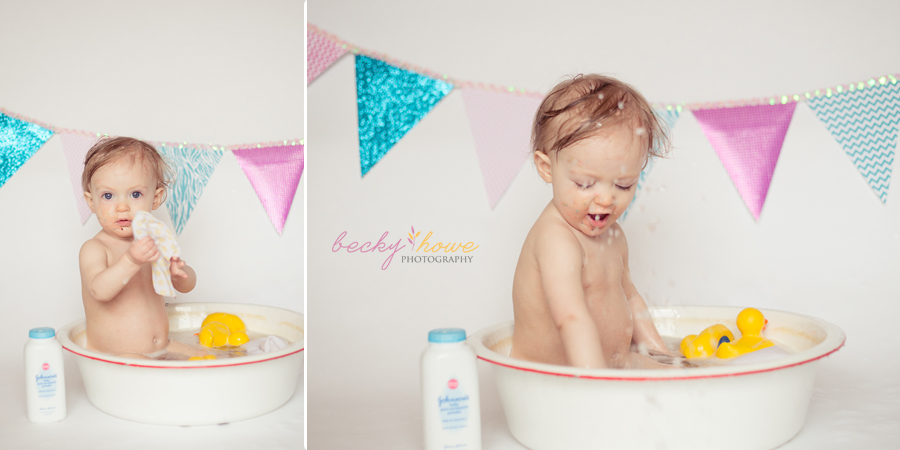 cake smash photography baby in bath pictures