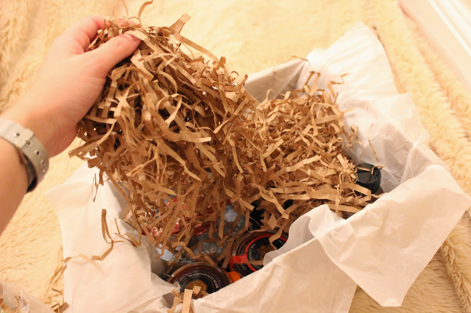 Shredded paper in luxury food hamper