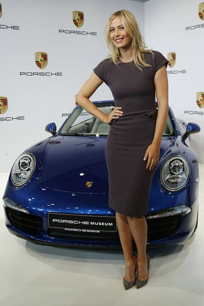 Maria Sharapova is the face of Nike, Tag Heuer and whatever tennis tournament she features in, and now she can add sports cars to her list after being unveiled as Porsche's brand ambassador. Sharapova, 16, was at the Porsche Museum in Stuttgart, Germany, standing tall alongside 911s, hogging the limelight in front of a Cabriolet and sitting in the driving seat of a Spyder.