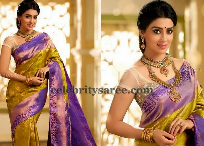 Shriya Purple Mustard Silk Saree
