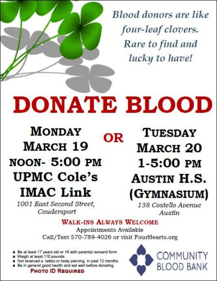 3-19/20 Blood Drive, Coudersport, Austin