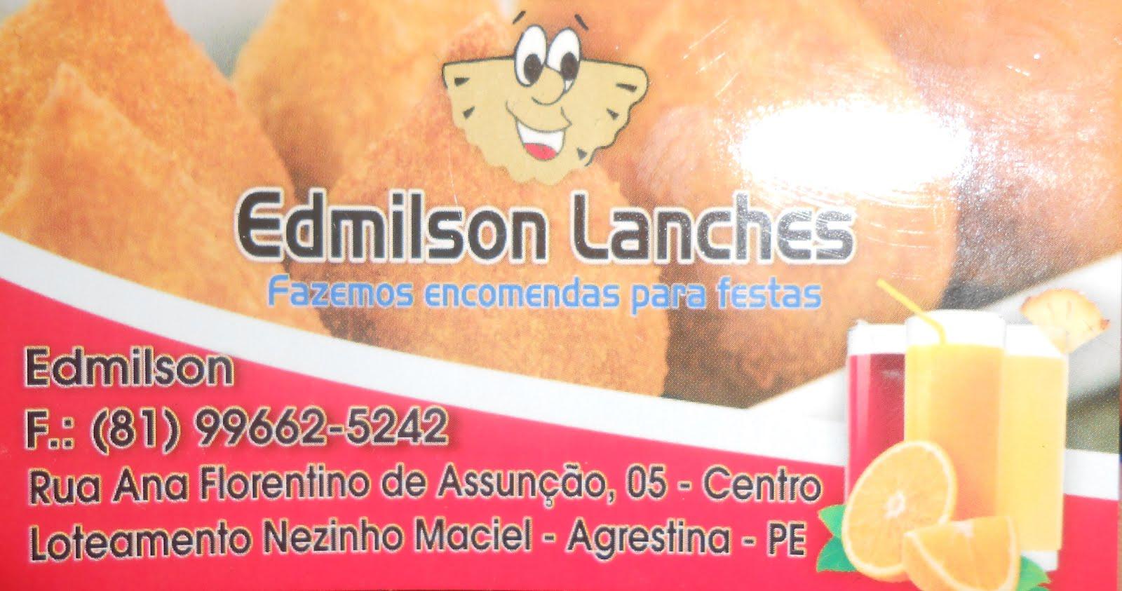 EDMÍLSON LANCHES EM AGRESTINA FAZEMOS ENCOMENDAS PARA FESTAS