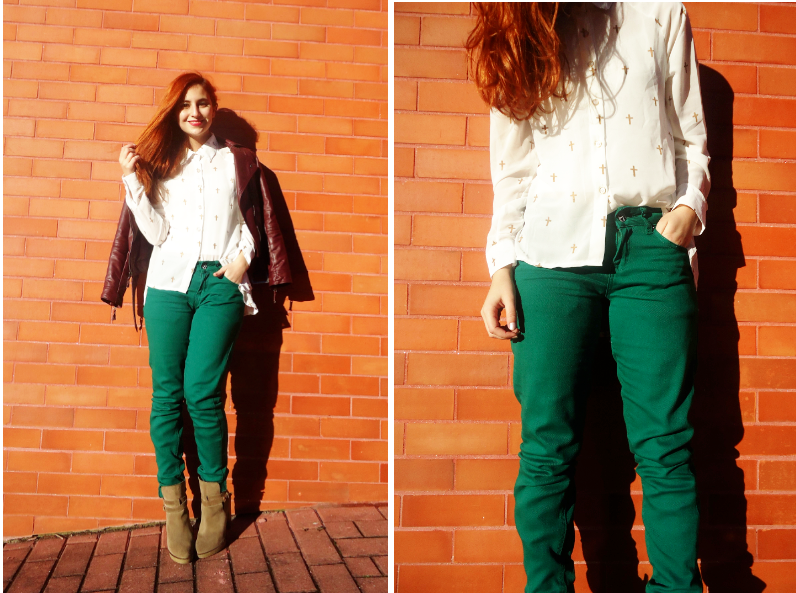 fashion bloggers wears hunter green and oxblood