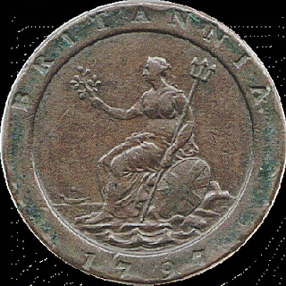 1797 coin showing Britannia
