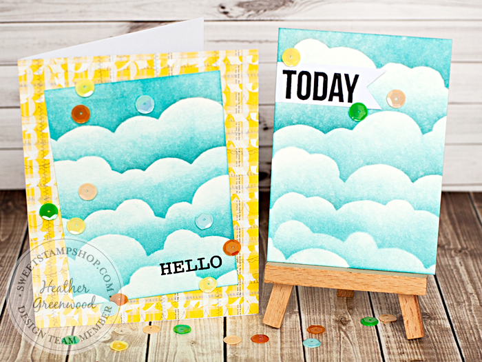 Heather Greenwood Designs | Sweet Stamp Shop Tutorial | using speech bubbles stamp set to create a cloudy background