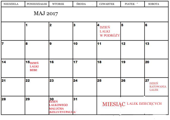 Kalendarz lalkowy Maj 2017