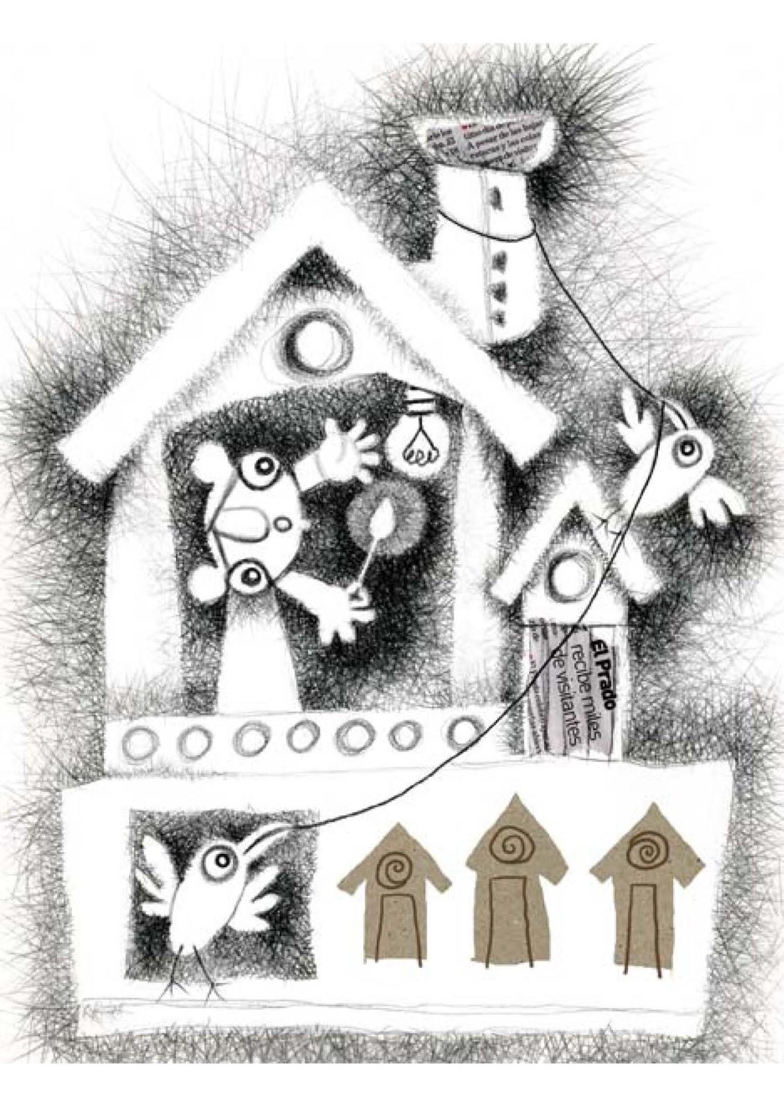 """Ilustración mixta, lápiz Conté y recortes de papel. Tamaño A3. Si quieres dar un poquito más de luz a tus habitaciones infantiles, con una reproducción firmada y enmarcada de """"Se fundió la bombilla"""" lo lograrás fácilmente. Escribe a pikapikame@pikapikame.com"""