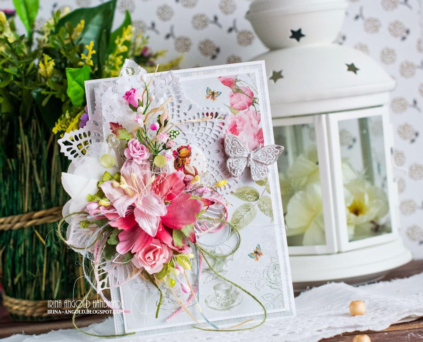 Скрапбукинг цветочная открытка 98