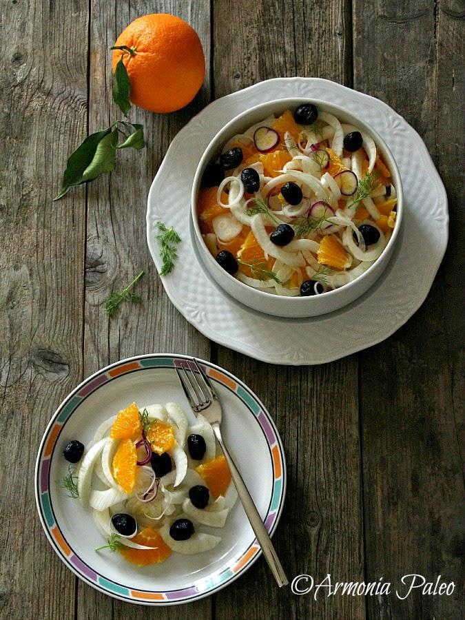 Insalata di Finocchi, Arance e Olive Nere di Armonia Paleo