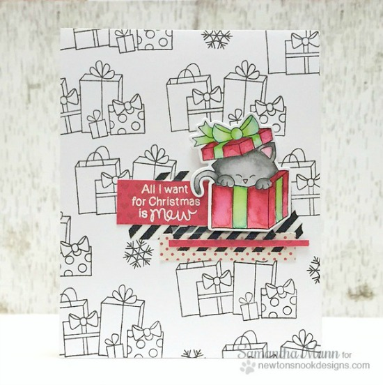 Meowy Christmas Cat Card by Samantha Mann | Newton's Christmas Cuddles Stamp & Die set by Newton's Nook Designs #newtonsnook