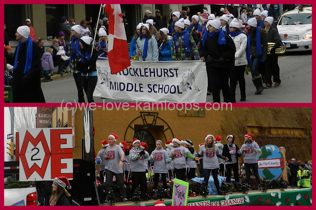 School band and enthusiastic students on the float enjoy the Santa parade