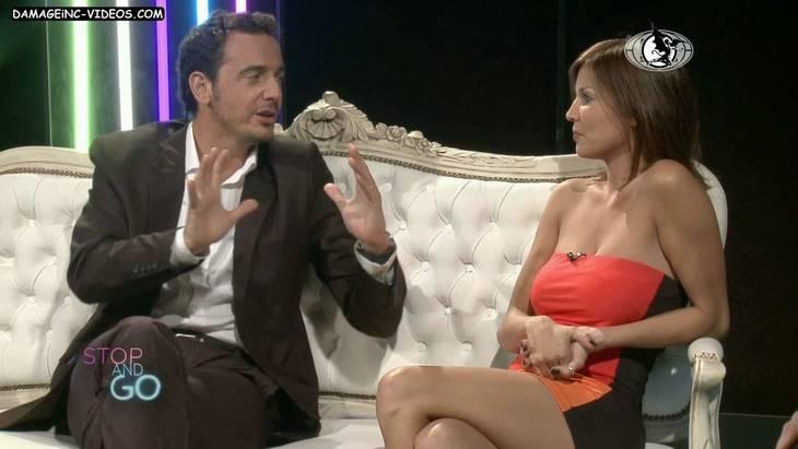 Argentina Celebrity Ursula Vargues big boobs miniskirt and nipple poke