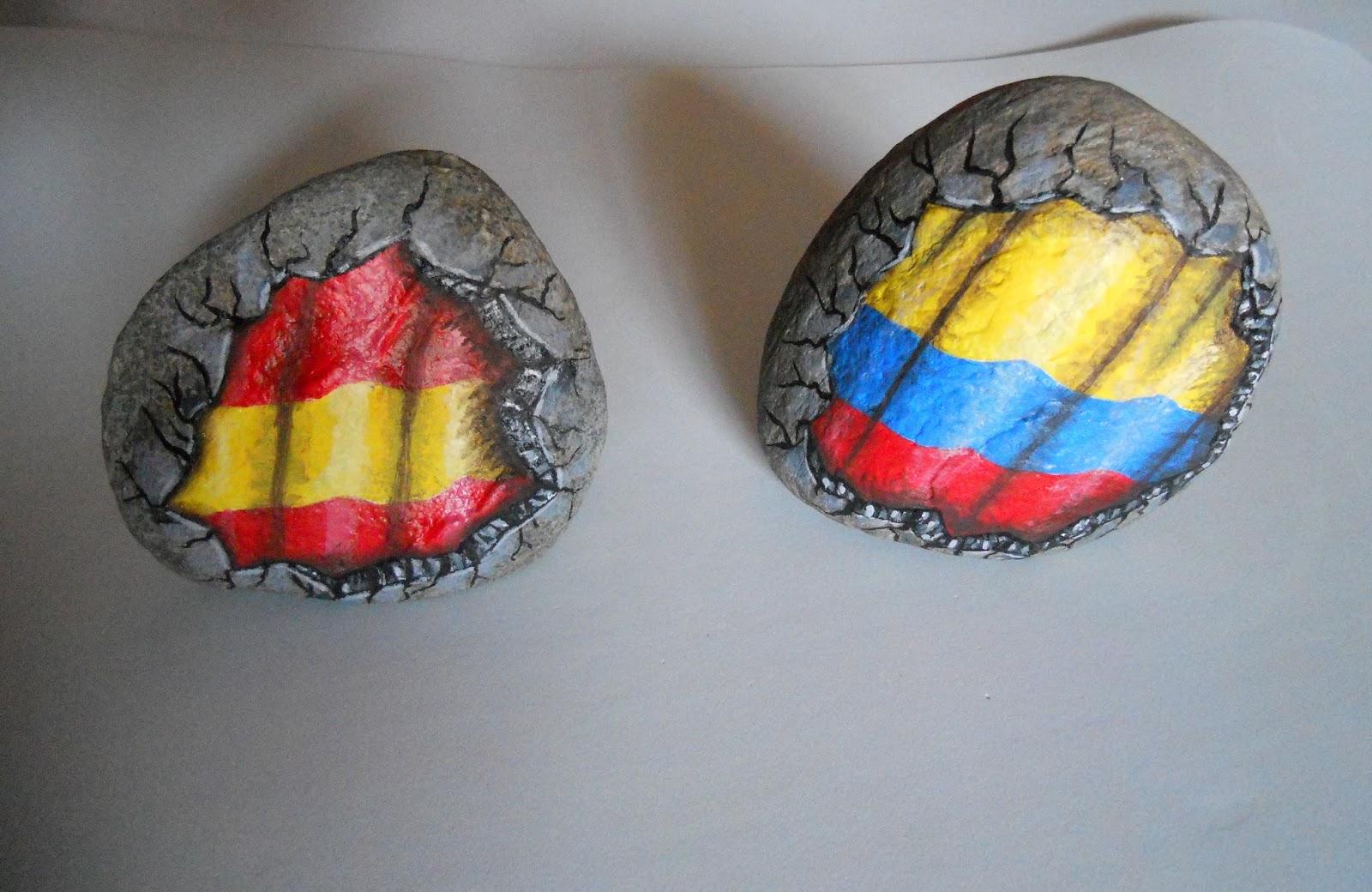 Piedras pintadas a mano piedras pintadas banderas - Baneras de piedra ...