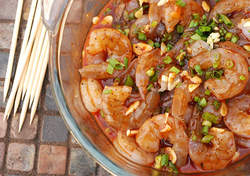 marinating shrimp in bowl