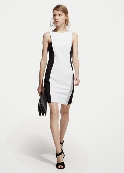 siyah beyaz dar kesim elbise, kolsuz model Mango 2015 Elbise Modelleri