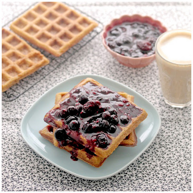Sour Cream Waffles with Triple Berries Sauce