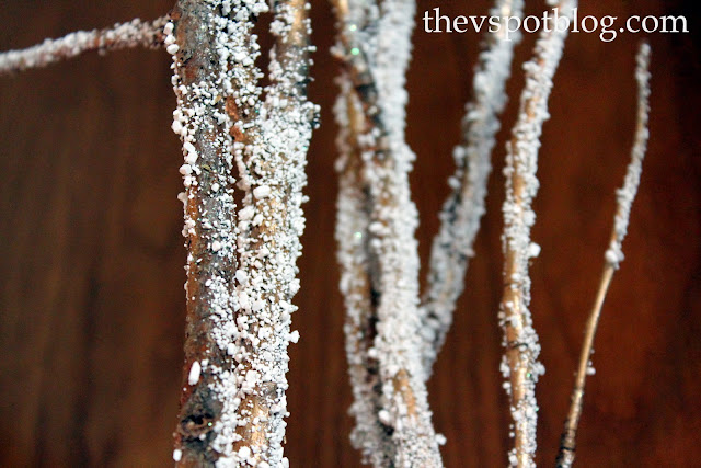 Christmas, decor, decorations, holiday, epsom salt, easy, snowy, frosty, sticks, branches