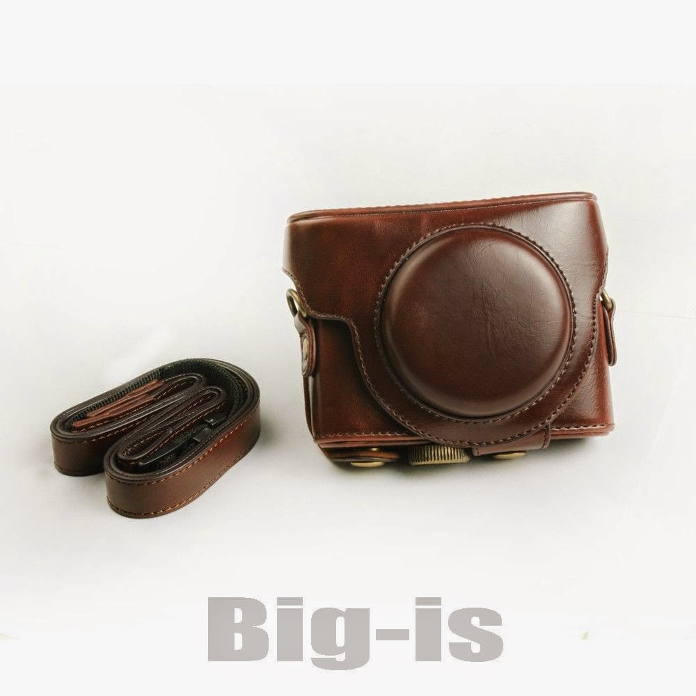 PU Leather Case Bag Cover for Sony DSC-RX100 in Brown Color With Strap