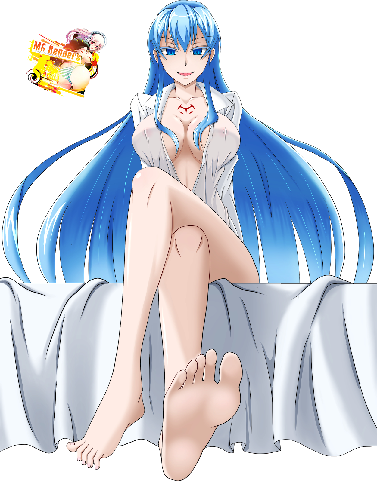 Tags: Anime, Render,  Akame Ga Kill!,  Crossed Legs,  Esdese,  Feet,  Toes,  PNG, Image, Picture