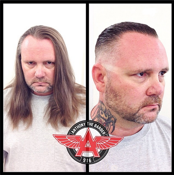 before and after haircut at Anthony's Barbershop