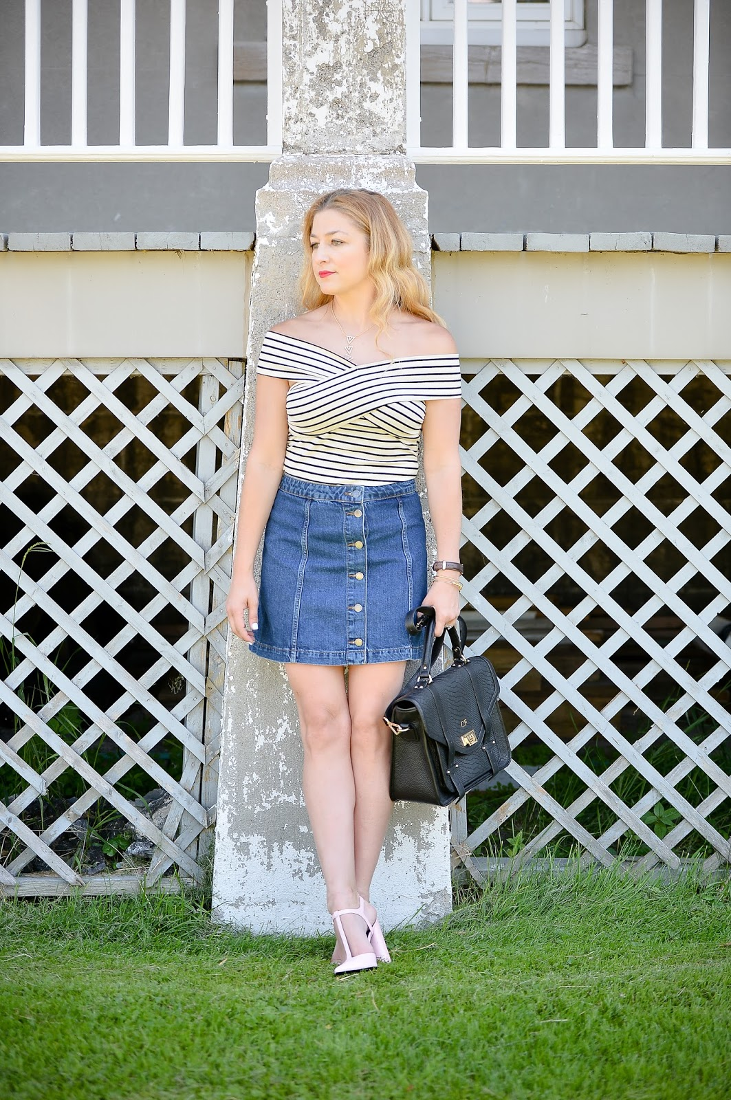 button skirt, denim skirt
