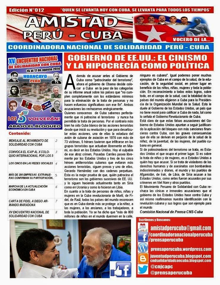 """BOLETÍN Nª012 """"AMISTAD PERÚ CUBA"""""""