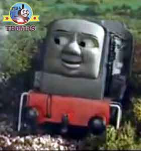 Thomas and friends Dennis the train wheels wobbled sticky black diesel oil dripped all over his cab
