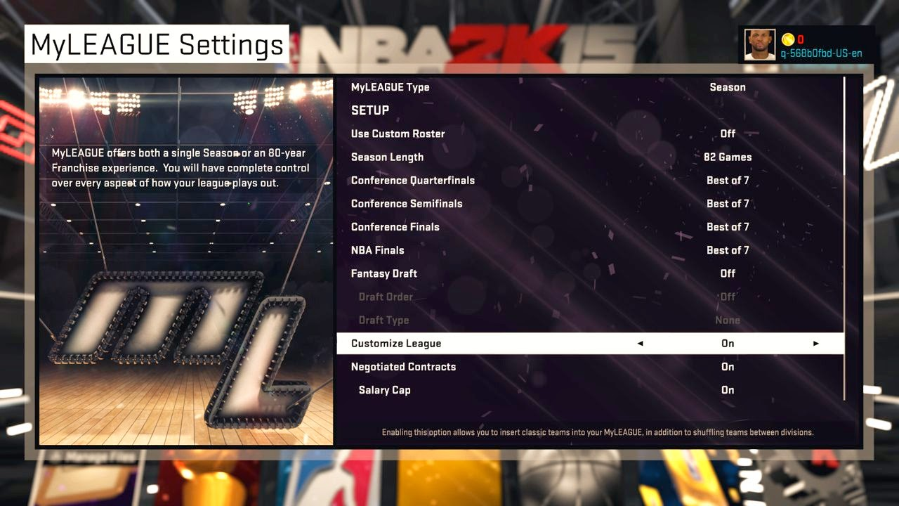 NBA 2K15 MyLEAGUE Settings