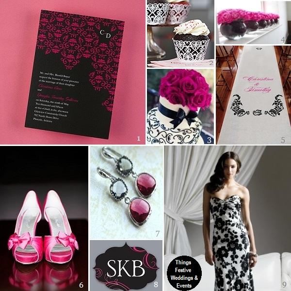 Fuchsia & Black Wedding Theme with Damask   Things Festive ...