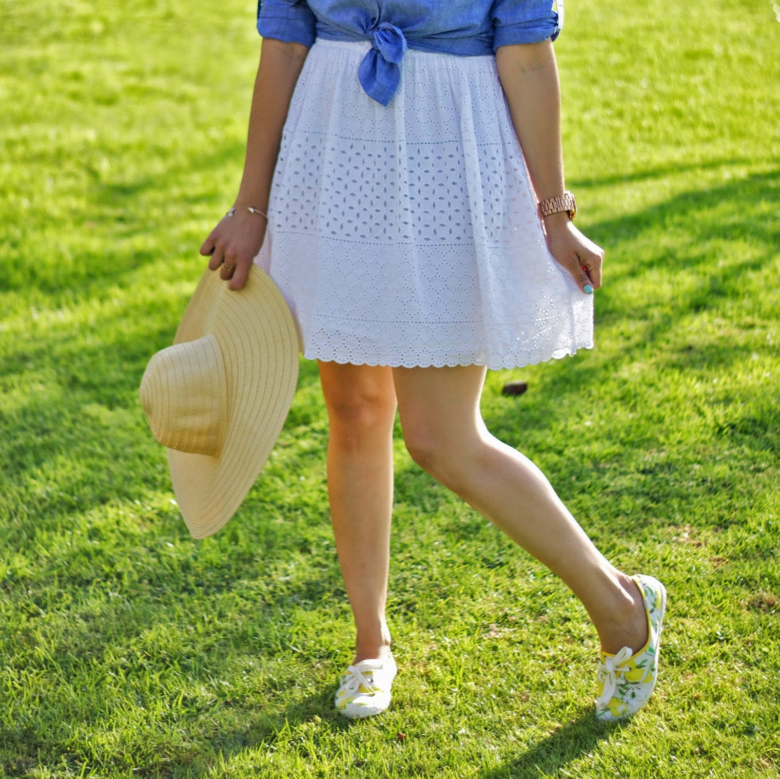 Little White Dress with straw hat, Refreshing spring outfit, eyelet white dress, old navy eyelet white dress