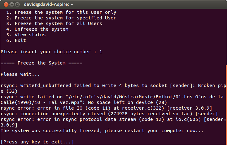 Restaurar Ubuntu a una configuración anterior, congelar cambios ubuntu,