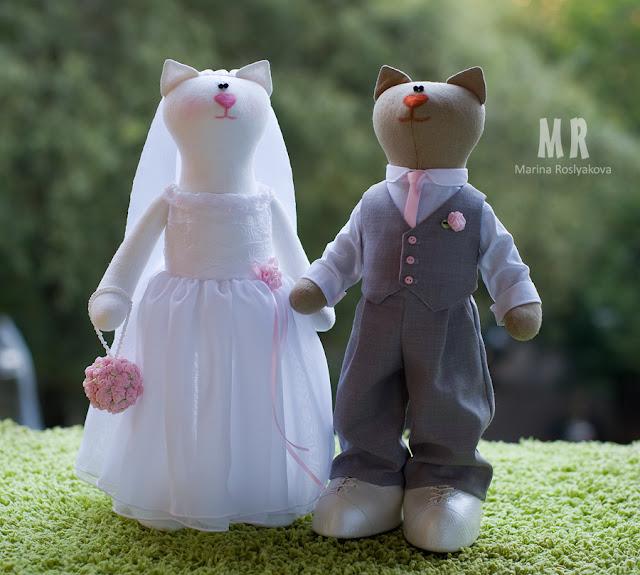 Свадебные котики, текстильная игрушка, игрушки ручной работы от Марины Росляковой, жених и невеста