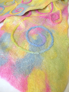 painting with fibers on silk