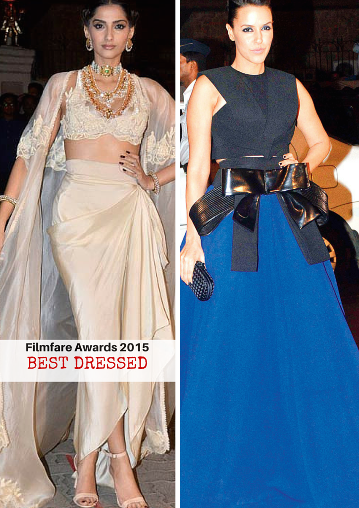 filmfare awards 2015 best dressed - sonam kapoor and neha dupia