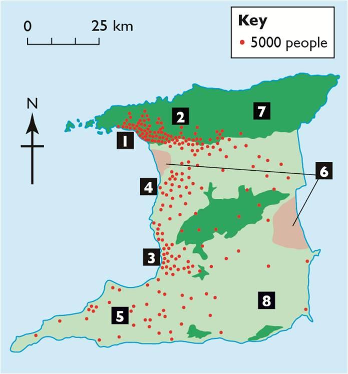 Dot Map Of Trinidad The Caribbean Environment For Csec Geography Mark Wilson