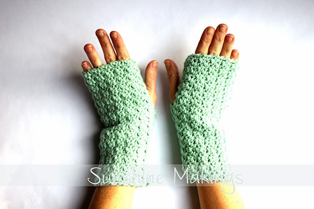 mint green fingerless mittens