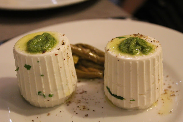 Ricotta with pesto at Roscioli, Rome, Italy