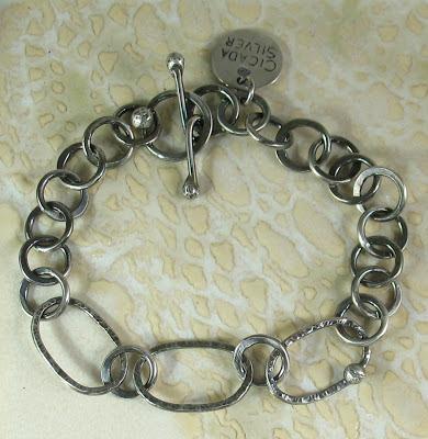 Cicada Silver:  Sterling silver link bracelet