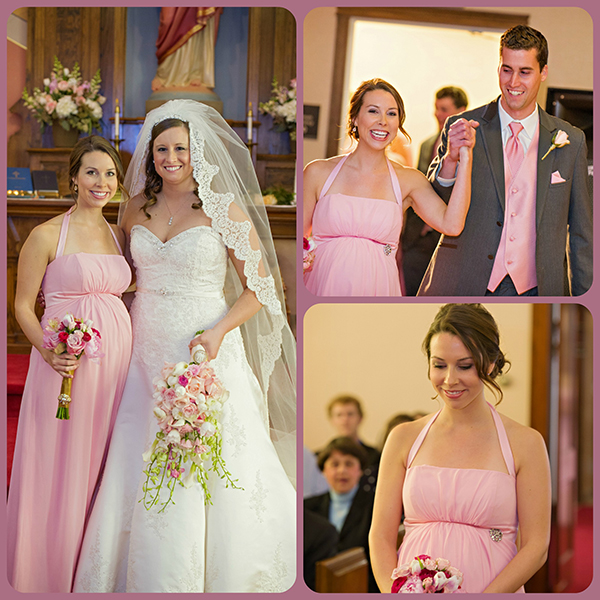 pink maternity bridesmaid dress
