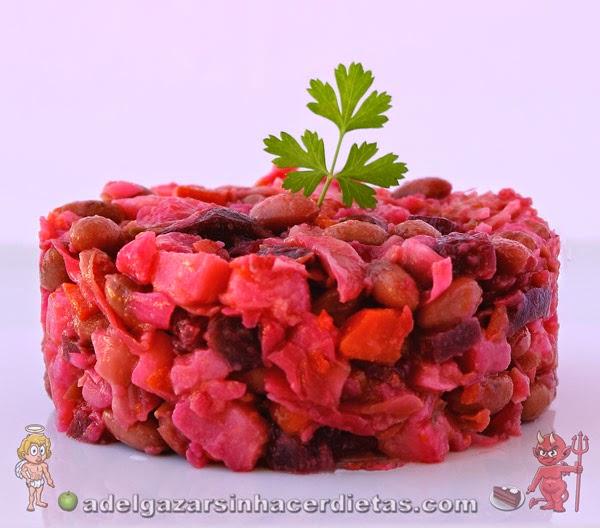 Receta saludable y fácil de Vinegret, ensalada típica rusa baja en calorías, apta para diabéticos, baja en colesterol y apta para veganos.