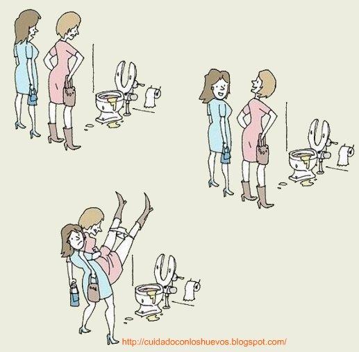 humor grafico. por que las mujeres van juntas al baño