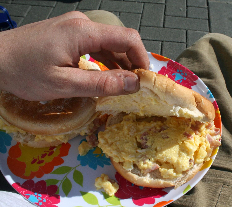 Mmmmm scrambled egg with bacon bits